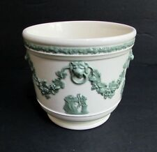 Vintage Wedgwood Green on Cream Embossed Queens Ware Cache Pot Planter 4.75""