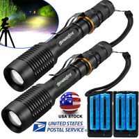 Tactical Police 990000Lumens 5-Mode 186*50  LED Flashlight Aluminum Zoom Torch