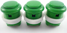 3 x 28mm Round Convex Curved Arcade Push Buttons & Microswitches (Green) - MAME