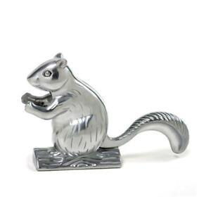 "6"" Retro Cast Aluminum Squirrel Nutcracker Tree Stump Davy Crackit Silver Tone"