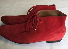 WOW!!! Designer BURBERRY Red Made in England Suede Boots. size 45 Tisci Leather