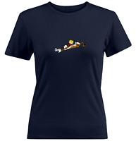 Juniors Women Tee T-Shirt Gift Print Shirts Calvin Hobbes Tiger Rub Scratch Fun
