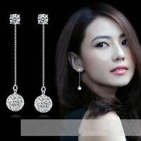 925 Silver Earrings AAA Zircon Crystal Ball Ear Drop Charm Fashion Jewelry