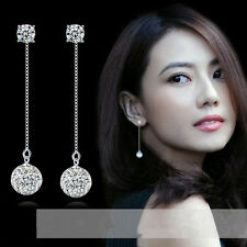 925 Silver Crystal Ball Earrings Ear Drop Elegant woman's Fashion Jewelry Gift