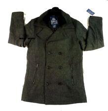 $150 Macys AMERICAN RAG Slim Wool SAILOR Coat MEDIUM Herringbone Charcoal Gray