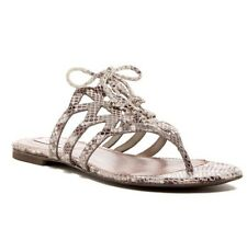 COLE HAAN~ Silver Python Print Claudia Flat Huarache Sandal 6 M
