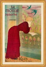 Le monde Moderne Dame Buch Lesen Schwalben Jugendstil Plakat Plakate A2 369