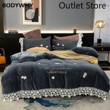 Soft Flannel Fleece Embroidery Bedding Set Lace Edge Duvet Cover Bed Linen