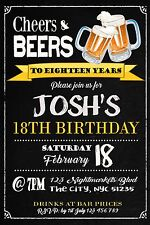 18th Invitation BEERS/CHEERS Birthday Party Invite ANY Age 21st 30th 50th 60th