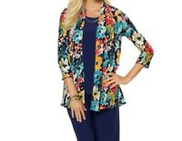 Slinky Brand Women's 3/4 Sleeves Printed Textured Jacket Cardigan Small Size HSN