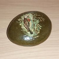 Pebble Art Cobblecraft Hand Painted Stone Linnet By J Astle Amlwch Wildlife Bird