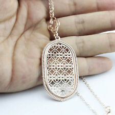 Cutout Quatrefoil Filigree Long Chain Oval Pendant Necklaces Statement Jewelry