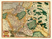 MAP ANTIQUE 1592 GODRECCIUS POLAND HISTORIC LARGE REPLICA POSTER PRINT PAM0015