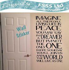 IMAGINE DREAMER JOHN LENNON BEATLES MUSIC LYRICS QUOTE WALL ART STICKER DIY HOME