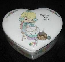 Precious Moments Trinket Box Heart Mother Sew Dear Ceramic Jewelry Holder Womens