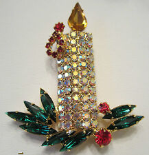 CHRISTMAS CANDLE BROOCH PIN FEATURING SUPER SIZE NAVETTE RHINESTONES!!