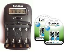 UNiROSS LCD 1-2 HOUR AA/AAA CHARGER & 8 x AAA 1000 Series Rechargeable Batteries