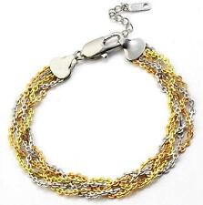 18K 18ct Gold filled Solid 3 tone twist woman man layer bracelet BL-A162