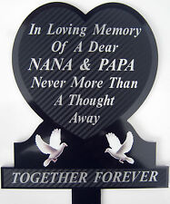 Memorial Plaque Grave Heart Personalised NANA & PAPA In Loving Memory