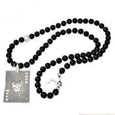 MOON°C Collier sautoir perle noir plaqué argent cristal tête de mort bijou