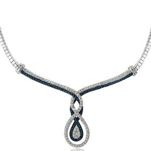 1/4 Ct Blue & White Diamond Intertwining Infinity Frontal Necklace