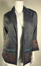 NWT Sigrid Olsen Signature Woman Open Front Blazer SZ S Denim Embroidered