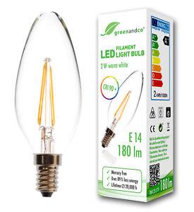 greenandco Glühfaden LED Kerze CRI 90+ flimmerfrei E14 2W 180lm warmweiß