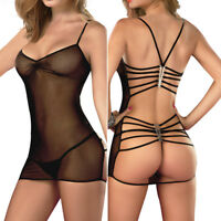 Women Lingerie Babydoll Mesh Sheer Bodysuit Teddy Underwear Sleepwear Nightwear