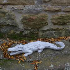 Grand Massif Sculpture en Pierre Crocodile Décoration de Jardin D'Espace Ciment