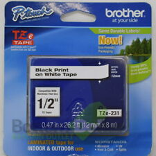 """Brother TZe231 1/2"""" Laminated Indoor & Outdoor Black Print On White Tape"""