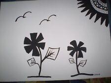 Original Watercolour  Artwork -  Black & White silhouette