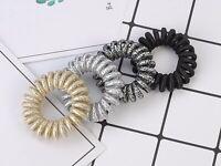 10 Glitter Fabric Spiral Elastic Hair Scrunchies Telephone Cord Ponytail 40mm