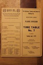 ATSF-SANTA FE RAILWAY PLAINS DIVISION EMPLOYEE TIMETABLE #7 JUNE 1,1971-MINT-TAN