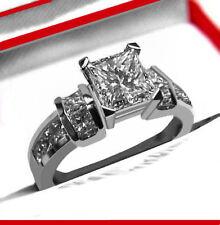 1.75 CT GENUINE PRINCESS CUT DIAMOND ENGAGEMENT RING 14K WHITE GOLD TU287F