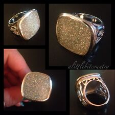 Silver Gray Sparkle Enamel Signet Cocktail Ring Hunky Pierced Band - Size 10