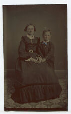 MOTHER AND YOUNG SON. TINTYPE, TINTED.