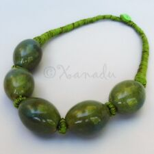 Olive Green Porcelain Necklace With Eclectic Green, Brown Cotton Thread Details