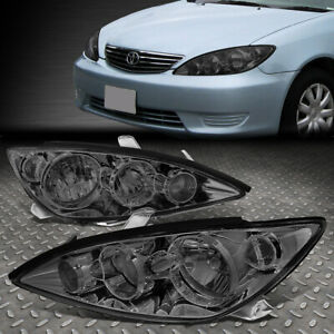 FOR 05-06 TOYOTA CAMRY SMOKED HOUSING CLEAR CORNER HEADLIGHT REPLACEMENT LAMPS