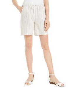 NWT Karen Scott Petite Cotton Elastic Waist Striped Shorts. 100090830PT