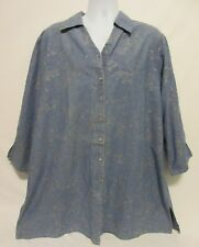 DENIM & CO QVC Women's 1X Plus Size Blue Embroidered Long Dress Shirt Top