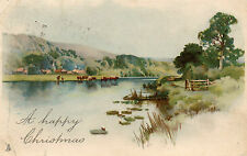 Vintage Christmas Greetings Postcard. Cows Pond Trees (Ref: G1)