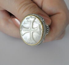Konstantino MOP Cross Ring Sz 10 Intaglio Sterling Silver 18k Gold Trillion