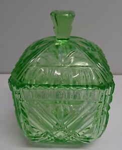 VINTAGE GREEN DEPRESSION GLASS CANISTER / LIDDED BOWL