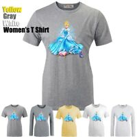 Disney Princess Cinderella Glass Slipper Print T-Shirt Womens Girls Graphic Tee