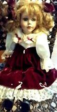 Porcelain Doll Red Velvet & Satin Dress