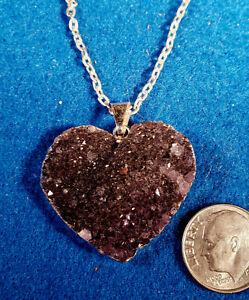"Amethyst Druzy heart shaped pendant about 1 1/2"" wide"