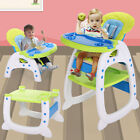 3-in-1 Baby High Chair Convertible Play Seat Booster W/Feeding Tray Adjustable
