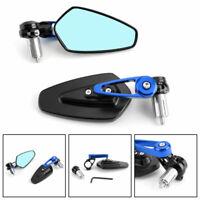 """7/8"""" 22mm Coppia Specchietti Retrovisori Specchi Moto Regolabile Scooter Blu"""