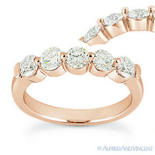 Round Cut Forever ONE D-E-F Moissanite 14k Rose Gold 5-Stone Band Wedding Ring