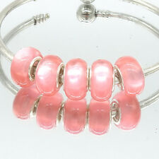 5pcs Silver Cat's Eye European Charm Beads Fit Necklace Bracelet DIY V249